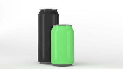 Big black and small green aluminum soda cans mockup