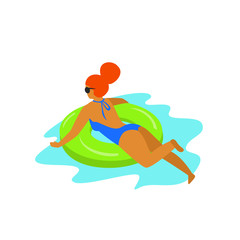 cute girl swimming on a inflatable ring float in a pool isolated vector illustration