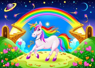 Foto auf AluDibond Kinderzimmer Rainbow unicorn in a fantasy landscape with golden stairs