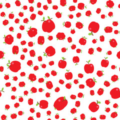 The Seamless pattern. Tropical ornament red apples