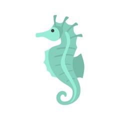 Sea horse color vector icon. Flat design