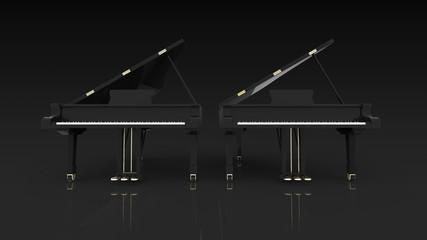 グランドピアノ 2台 正面