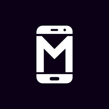 M Initial letter with Smart phone logo icon vector
