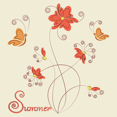 Flowers, butterflies and a signature of the Summer. Design greeting cards, logo, poster or banner. Word and abstract flowers and butterflies on a light background.