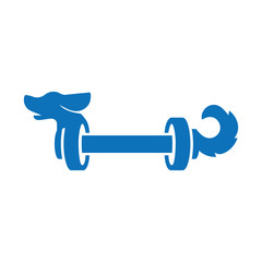 Dog with barbell fitness logo icon vector, dog logo template