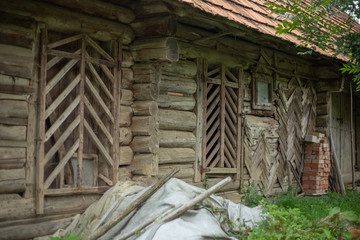 Traditional old wooden barn in the highlands of the Carpathians.