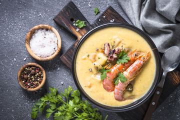 Chowder soup with seafood and prawn shrimps.
