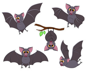 Cartoon bat in different poses. Halloween elements set.
