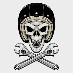 Vintage Biker Skull and Wrench. Isolated artwork object. Suitable for and any print media need.