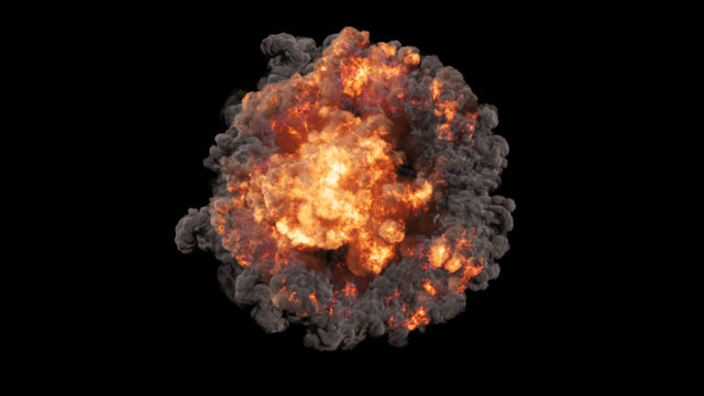 3D rendering of voluminous colorful explosions, shock waves and clubs filled with smoke