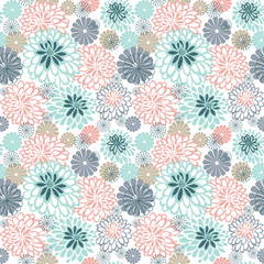 Stylized chamomile and dahlias. Seamless pattern.