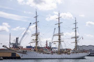Old sailship in port