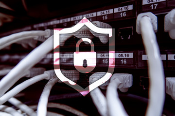 Cyber protection shield icon on server room background. Information Security and virus detection.