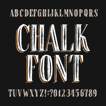 Chalk board alphabet font. Hand drawn messy vintage letters, numbers and symbols. Stock vector typeface.