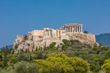 Vue sur l'Acropole depuis la colline des Nymphes à Athènes