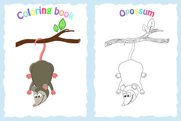 Coloring book page for preschool children with colorful opossum