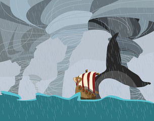 viking boat and whale in storm vector illustration