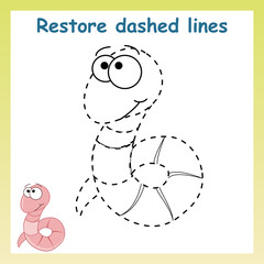 Trace game for children.Cartoon worm. Restore dashed line