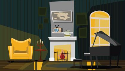 living area interior vector illustration