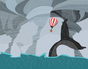 whale and balloon in storm vector illustration