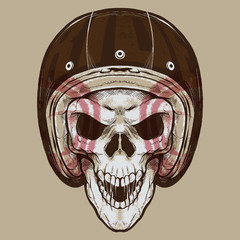 Vintage Biker Skull. Isolated artwork object. Suitable for and any print media need.