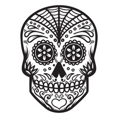 Illustration of mexican sugar skull. Day of the dead. Dia de los muertos. Design element for logo, label, emblem, sign, poster, t shirt.