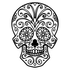 Illustration of mexican sugar skull. Day of the dead. Dia de los muertos. Design element for logo, label, emblem, sign, poster, t shirt