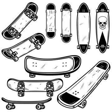Set of skateboard and longboard illustrations on white background. Design element for logo, label, emblem, sign, badge, t shirt, poster.