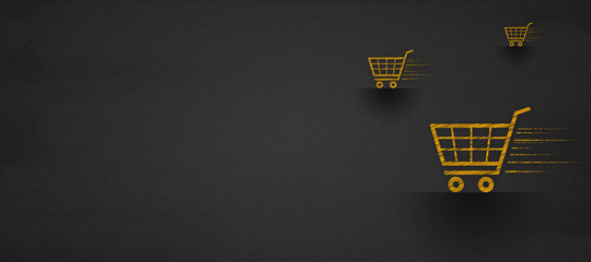 shopping online concept, shopping cart on a blackboard