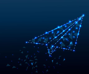 paper airplane, polygon, blue stars 4 blue star
