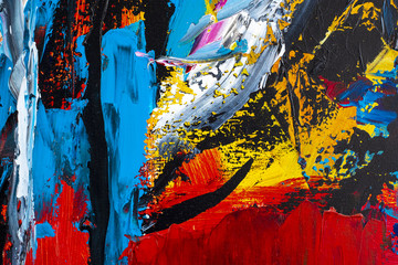Abstract art background. Oil painting on canvas. Multicolored bright texture. Fragment of artwork....