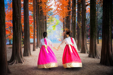 Wall Mural - Korean girl walking in nami park in nami island