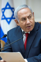 Israeli Prime Minister Netanyahu attends the weekly cabinet meeting at his office in Jerusalem