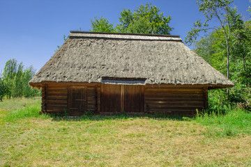 Traditional Ukrainian  ancient wooden barn or shed