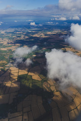 aerial view of Ireland with fields and meadows in dry conditions