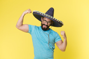 Mexican concept. Happy man smile in mexican hat. Mexican man in sombrero hat. Mexican party celebration