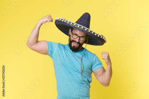 b328aa10773 Mexican concept. Happy man smile in mexican hat. Mexican man in sombrero hat.  Mexican party celebration