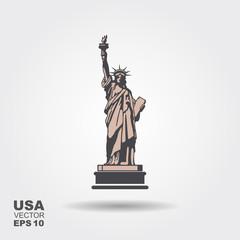 Liberty Statue Icon Illustration. Flat style. Vector illustration
