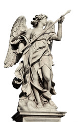 Angel holding Holy Lance of Longinus statue, a 17th century baroque masterpiece in Rome (isolated on white background)