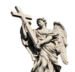 Aluminium Prints Historic monument Angel holding Holy Cross statue, a 17th century baroque masterpiece in Rome (isolated on white background)