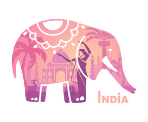 Stylized silhouette of the Indian elephant with the symbols of India