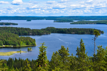 Lake Päijänne, the second largest lake in Finland, as seen from the observation tower in Oravivuori in Finland. Wall mural