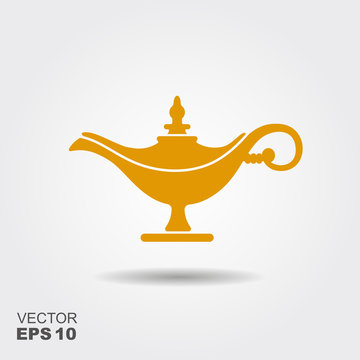 Middle East Oil Lamp. Vector flat icon