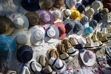 Display of hats for the sun