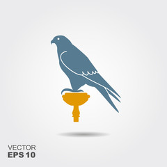 Hunting Falcon. Vector flat illustration with shadow