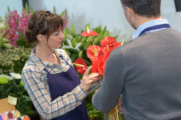 male and female florists working in greenhouse