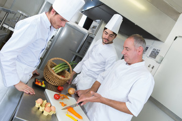 apprentices cooks learning with experienced chef