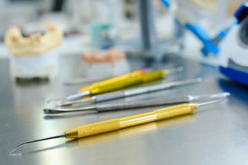 dentist tools in metal table