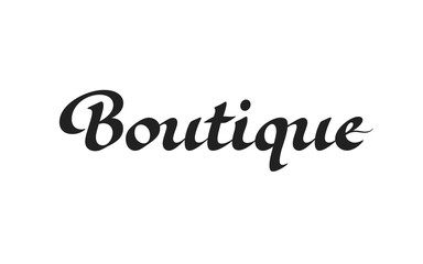 Boutique logo design. Vector sign lettering. Logotype calligraphy
