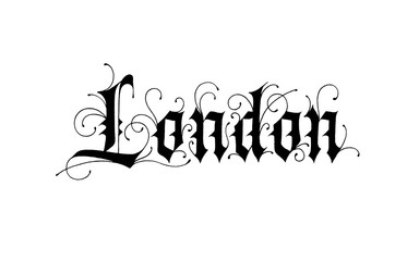 London logo design. Vector sign lettering. Gothic calligraphy with swirls